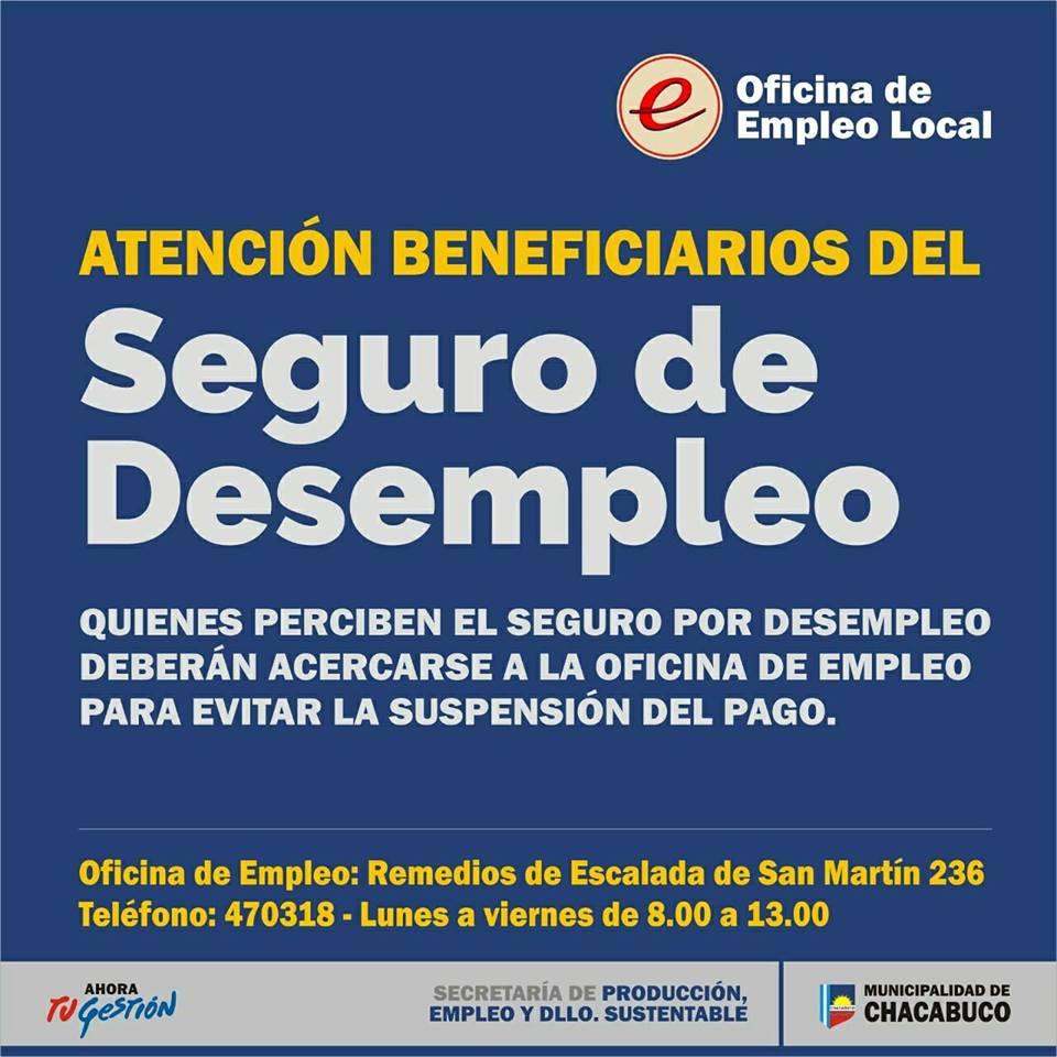 Oficina de empleo convoca a beneficiarios del seguro de desempleo chacabuco en red - Oficina de desempleo ...
